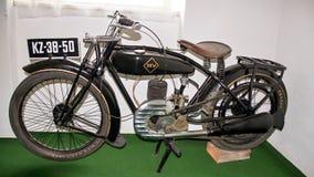 Antikt motorcykelmärke DKW E 206, 1926, motorcykelmuseum Arkivfoton