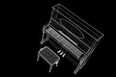 Antikt piano med banan Arkivbilder