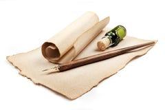 antikt skriva för utensils Royaltyfri Fotografi