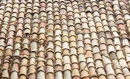 Antikt tak med tegelplattor arkivfoto