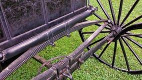Antikt vagnshjul och Axle Detail fotografering för bildbyråer