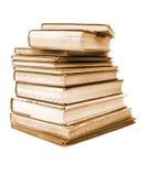antikvariska böcker isolerade sepiastil Arkivfoton
