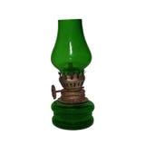 Antikverad grön olje- lampa Arkivfoton