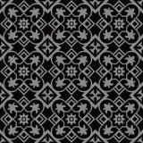 Antikvitet kurva, damast, svart, barock som är utsökt, victorian, silver, vinranka, runda, lyx, mörker som är retro, blomma för f Royaltyfria Bilder