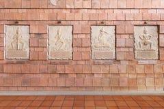 Antikviteten av väggmålningen på väggen i det offentliga museet, kallade det arkivbild