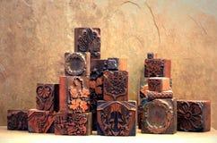 antikviteten blockerar kopparprinting Fotografering för Bildbyråer