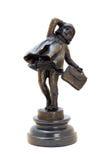 Antikviteten brons figurinen av flickan med hänger lös. royaltyfri fotografi