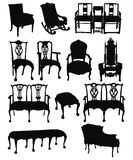 antikviteten chairs silhouettes stock illustrationer