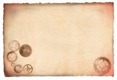 antikviteten förser med kuggar parchment royaltyfri fotografi