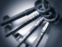antikviteten keys pewter Arkivfoto