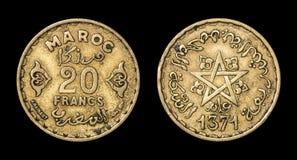 Antikviteten myntar av 20 francs Arkivbilder