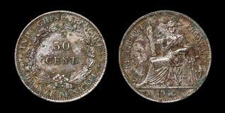 Antikviteten myntar av 50 centimes Royaltyfri Fotografi