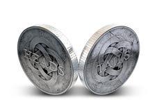 Antikviteten myntar huvud och svansar royaltyfria bilder