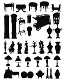 antikviteten objects silhouettes stock illustrationer