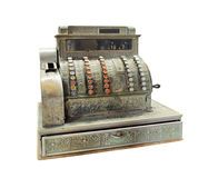 Antikviteten vev-fungerade kassaapparaten Arkivbild