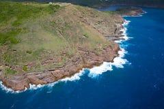Antillen, Karibische Meere, Antigua, Ansicht des indischen Nebenfluss-Punktes Lizenzfreies Stockfoto
