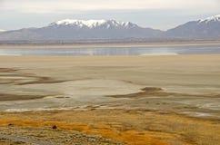 Antilopeeiland, Great Salt Lake, en Wasatch-Bergen Stock Foto
