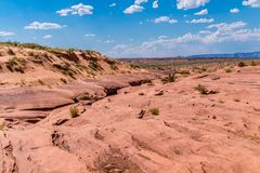 antilopkanjonen fäller ned ovanför sikt Dragningar i Arizona Royaltyfri Foto