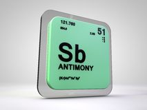 Antimony - Sb - chemical element periodic table Royalty Free Stock Photo
