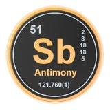 Antimony Sb stibium chemical element. 3D rendering. Antimony Sb stibium chemical  element. 3D rendering isolated on white background vector illustration