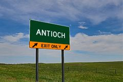US Highway Exit Sign for Antioch. Antioch composite Image `EXIT ONLY` US Highway / Interstate / Motorway Sign stock image