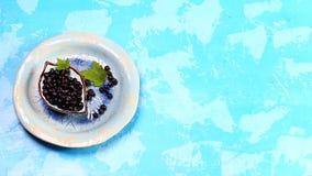 Antiossidante di Superfoods di mapuche indiano, Cile Ciotola di ramo di albero fresco della bacca di maqui e della bacca di maqui fotografia stock libera da diritti