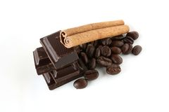 Antiossidanti: Caffè, cioccolato scuro e cannella Fotografia Stock Libera da Diritti