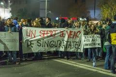 Antioverheidsprotesteerders in Boekarest Royalty-vrije Stock Foto