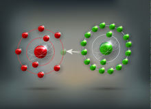 Antioxidant. How antioxidant works against free radicals. Antioxidant donates missing electron to Free radical, now all electrons are paired stock illustration