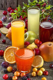 Antioxidant juices. Of citrus, apple, plum and blackberry Stock Photo