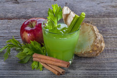 Antioxidant juices. Antioxidant juice made from celery, apples and cinnamon royalty free stock image