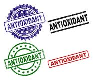 Scratched Textured ANTIOXIDANT Seal Stamps. ANTIOXIDANT seal stamps with distress surface. Black, green,red,blue vector rubber prints of ANTIOXIDANT label with stock illustration