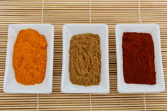 Antioxidant spices: turmeric, cumin, paprika Royalty Free Stock Photo
