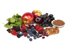 Antioxidants. Foods rich in antioxidants, isolated on white Royalty Free Stock Photos