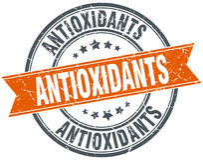 Antioxidants round orange stamp Royalty Free Stock Images