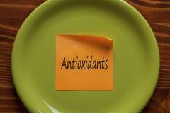Antioxidants som är skriftliga på en anmärkning Royaltyfri Foto