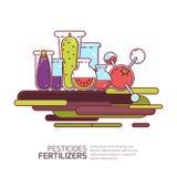 Antiparassitari, concetto dei fertilizzanti Vector l'illustrazione delle verdure e dei grani con i prodotti chimici Tecnologie di illustrazione vettoriale