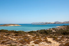Antiparos Island - Mediterranean sandy coast, Cyclades. Coast of Antiparos in front of Paros - Greece stock photos