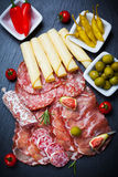 Antipasti and catering platter Stock Photos