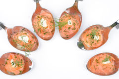 Antipasti di color salmone sui cucchiai Fotografia Stock