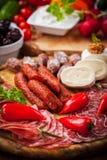 Antipasti and Fingerfood platter Stock Photos