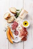 Antipasti ham, cheese, melon Royalty Free Stock Photos
