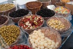 Antipasti on market. In italy, gardalake Stock Photos