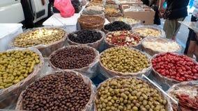 Antipasti on market. In italy, gardalake Royalty Free Stock Image