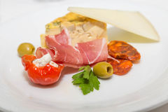 Antipasti Plate with Meats and Cheeses Royalty Free Stock Images