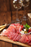 Antipasti Platter of Cured Meat Royalty Free Stock Image