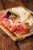 Antipasti Platter of Cured Meat Stock Photo