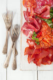 Antipasti Platter of Cured Meat Royalty Free Stock Photography