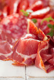 Antipasti Platter of Cured Meat,   jamon, sausage, salame on whi Stock Photo