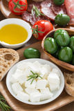 Antipasti platter - fresh feta cheese, deli meats, olives Stock Images